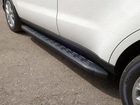 Kia Soul 2017-Пороги алюминиевые с пластиковой накладкой (карбон черные) 1720 мм